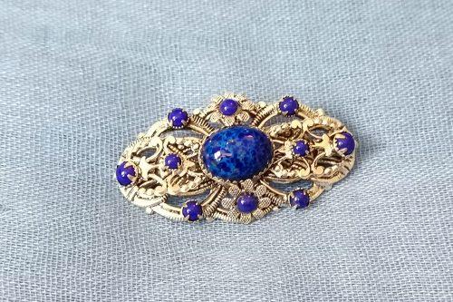 edwardian-lapiz-glass brooch
