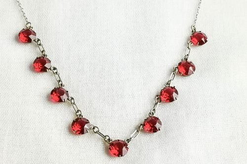 ruby glass art deco necklace