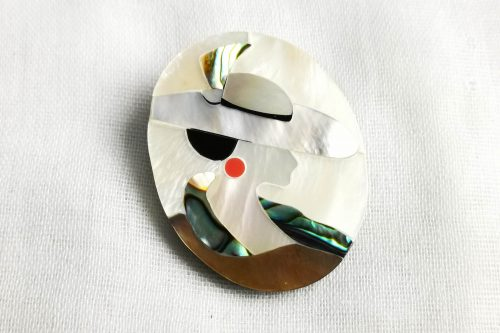 mother of pearl inlay brooch
