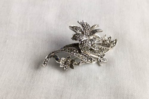 rhodium plated marcasite brooch