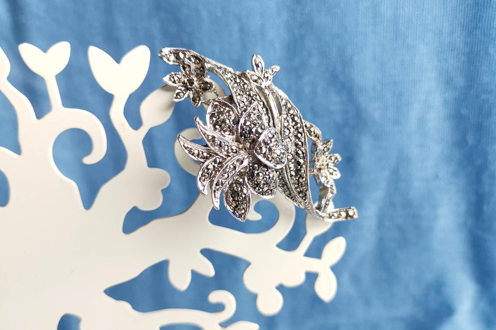 rhodium plated marcasite brooch