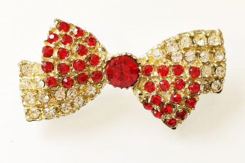 red rhinestone vintage bow brooch