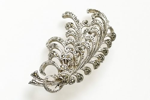 sphinx marcasite-feather-brooch