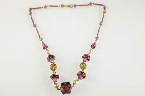 art deco amethyst glass necklace
