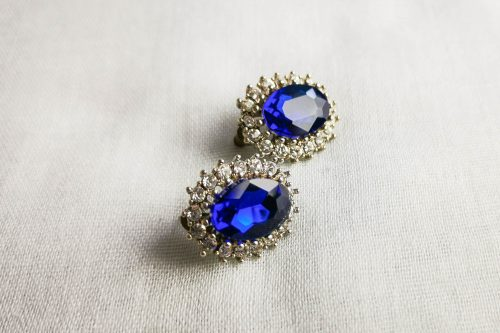 deep blue rhinestone earrings