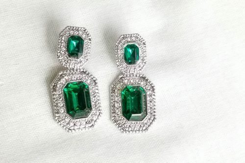 green crystal statement earrings