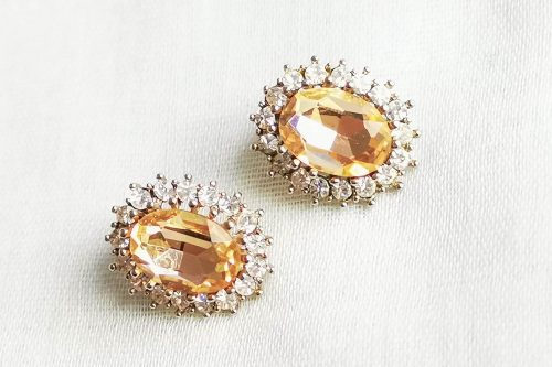 peach rhinestone earrings