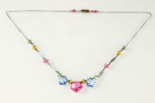 art deco pastel glass necklace