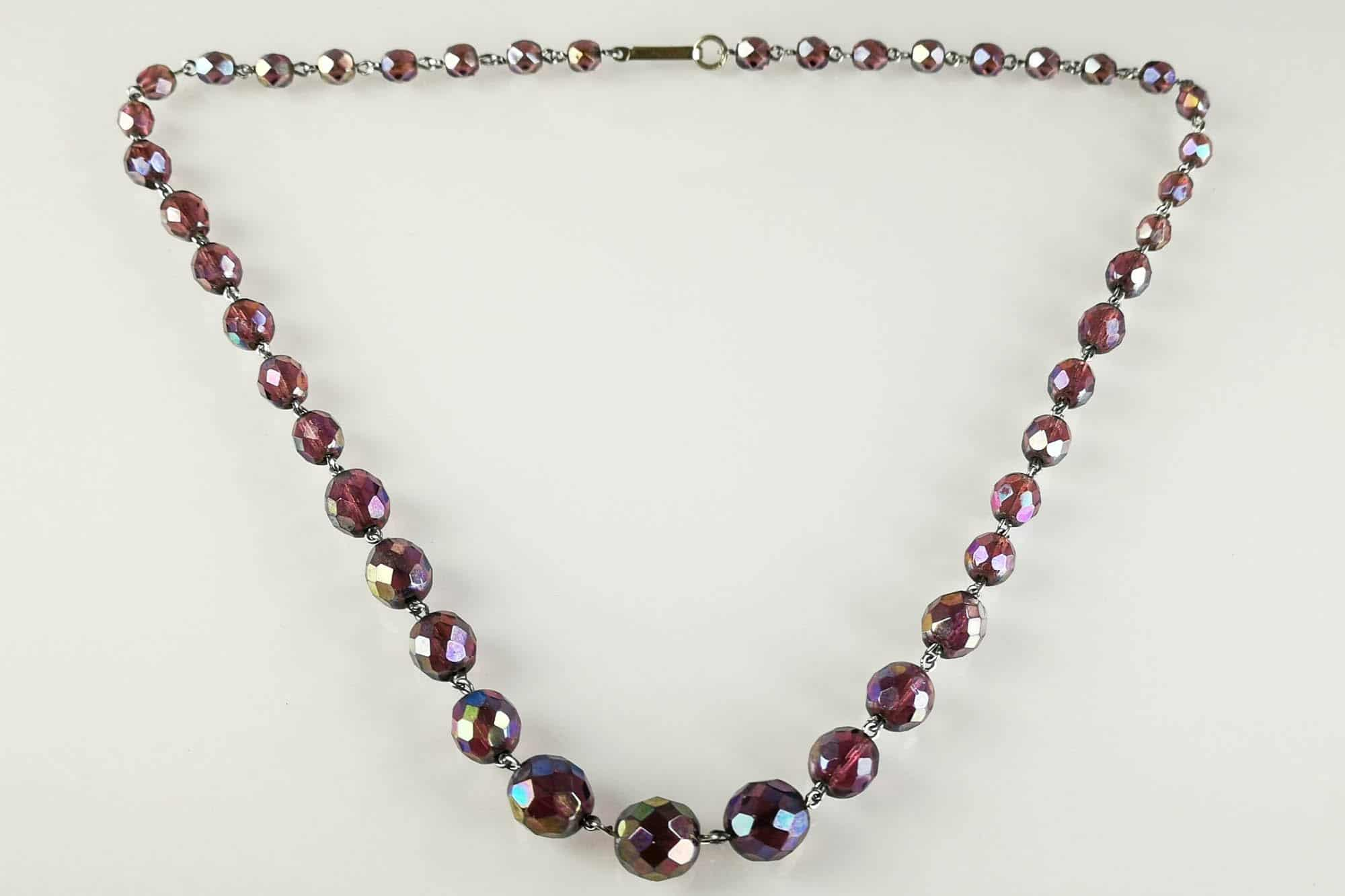 carnival glass necklace