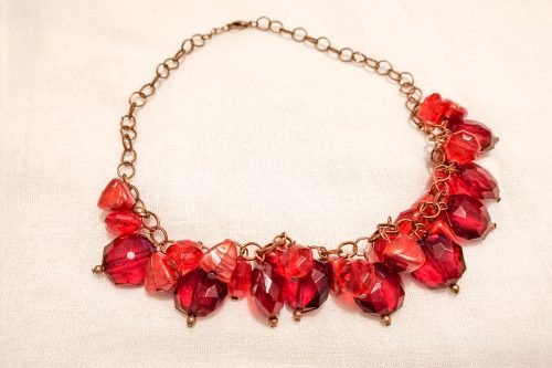 red plastic cluster necklace